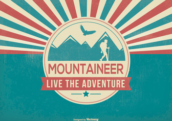 Retro Style Mountaineer Illustration - vector gratuit #367781