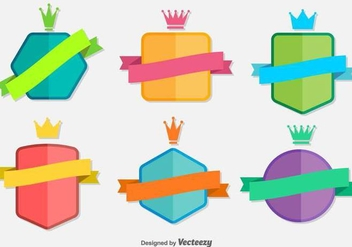 Flat Ribbon Vector Badges - бесплатный vector #367831