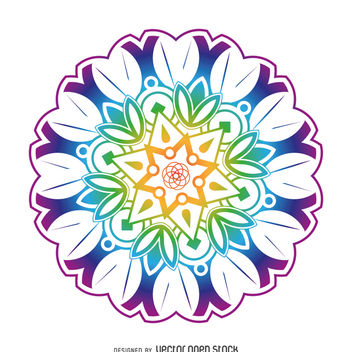 Colorful mandala flower - Free vector #367871