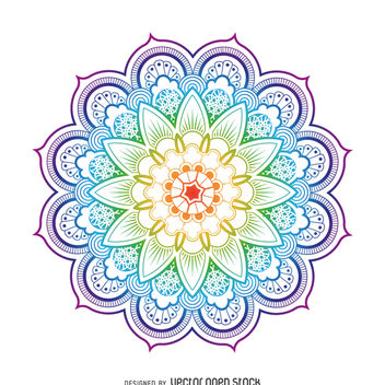 Bright mandala flower illustration - Free vector #368031