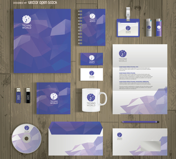Office stationary mockup - vector #368061 gratis
