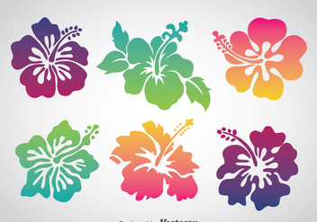 Colorful Hawaii Flower Vector Set - Free vector #368371