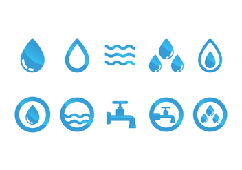 Flat Water Icon Vector Set - Free vector #368441