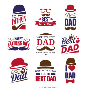 Father's Day sign label set - vector gratuit #368501