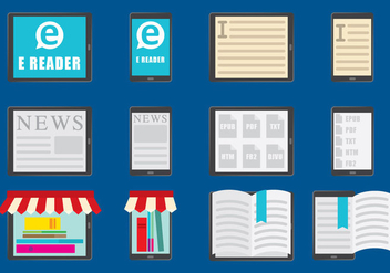 E Reader color icons - vector gratuit #368641