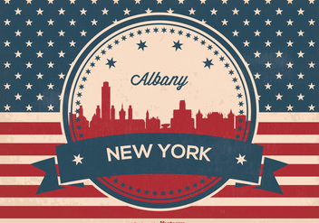Albany New York Retro Skyline Illustration - vector gratuit #368851