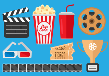 Free Pop Corn Box and Movie Cinema Vectors - vector gratuit #369071