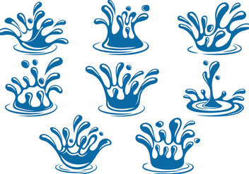 Set Of Water Splash Vector - Free vector #369341