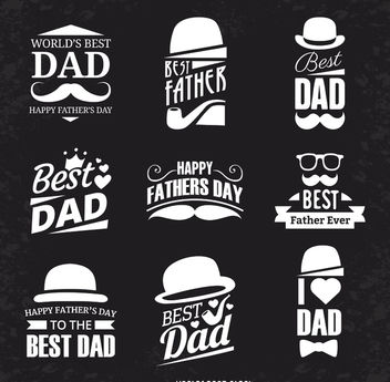 Father's Day label set - vector #369471 gratis