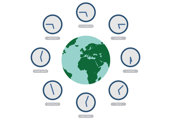 Vector World with Time Zone Clocks - vector #369521 gratis