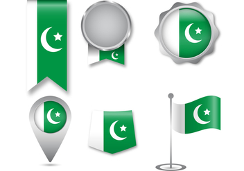 Pakistan Flag Icon Set - vector gratuit #369621