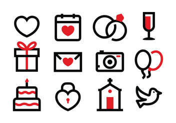 Free Wedding Icon Set - vector gratuit #369671