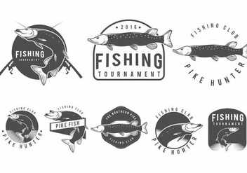 Pike Fish Badges - бесплатный vector #369681