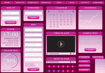 Pink Gradient Web Elements - vector #369691 gratis