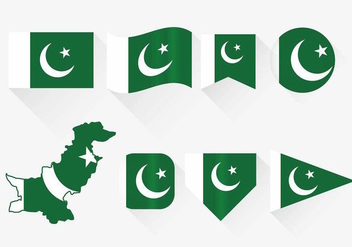 Pakistan Flag Set - vector gratuit #369741