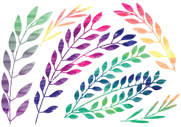Vector Rainbow Watercolor Branches - vector gratuit #369781