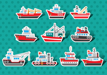 Tugboat Vector Sticker Pack - Free vector #369801