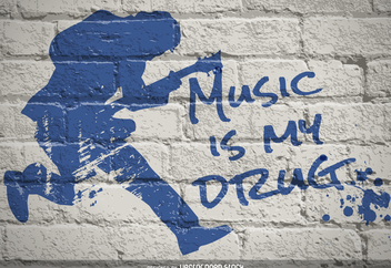 Music is my drug graffiti - vector gratuit #369871