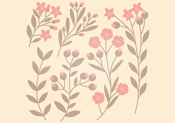 Pink and Brown Vector Floral Set - Free vector #369901
