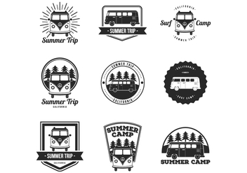 Free VW Camper, Summer, Surf Camp Badges - Kostenloses vector #369931