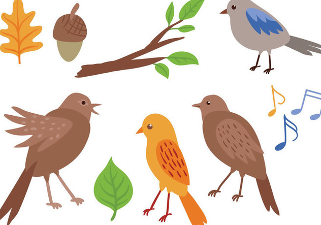 Free Singing Birds Vectors - бесплатный vector #370061