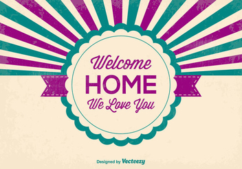 Retro Style Welcome Home Illustration - Kostenloses vector #370281