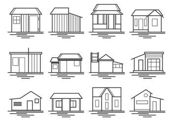 Shack And House Icon Vector Pack - Kostenloses vector #370471