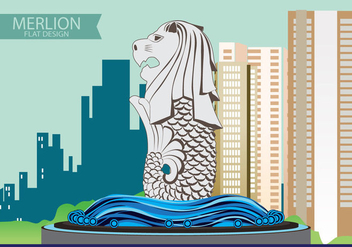 Illustration of Merlion Flat design - vector #370531 gratis