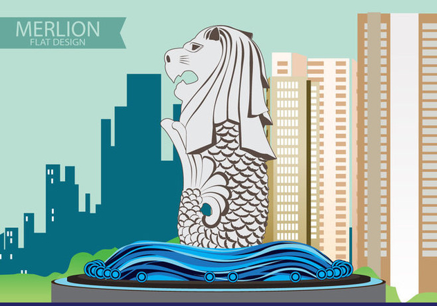 Illustration of Merlion Flat design - Kostenloses vector #370531