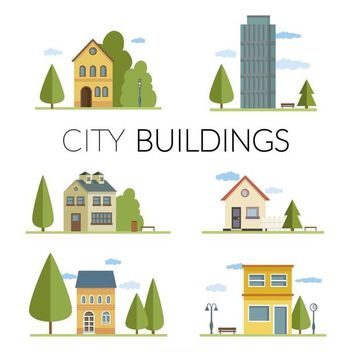 Flat city buildings illustrations - Kostenloses vector #370671