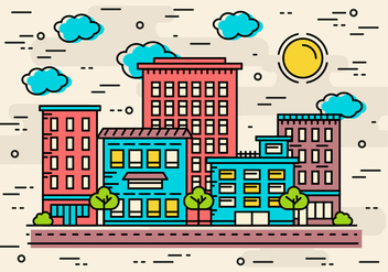 Free Flat Linear City Vector - Free vector #370841