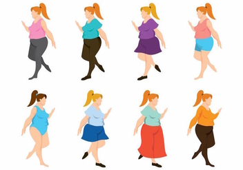 Fat Women Set - vector gratuit #371141