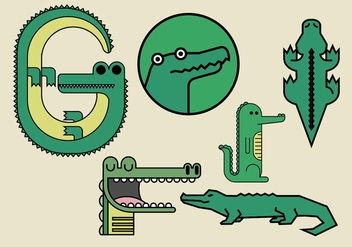 Gator Vector Illustrations - Kostenloses vector #371341