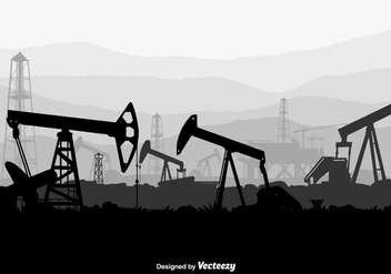 Oil Field Vector Background - vector gratuit #371421