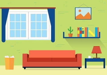 Free Living Room Vector Illustration - vector gratuit #371561