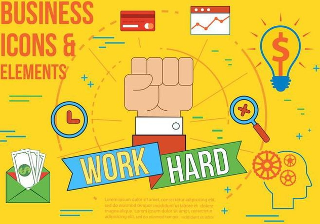 Free Work Hard Vector Illustration - Free vector #371591
