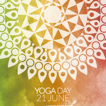 Colorful Yoga Day mandala card - vector gratuit #371951