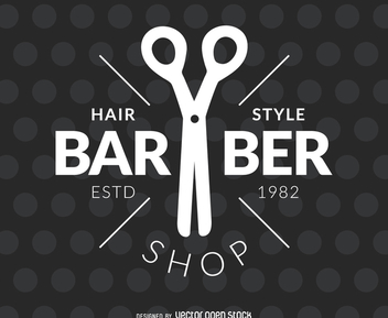 Barber hair salon label - Free vector #372281