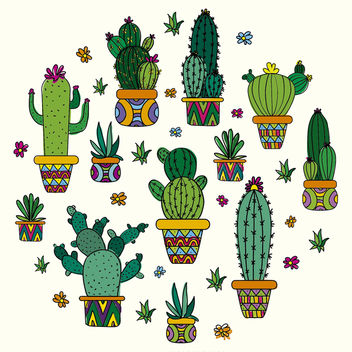 Cactus drawing design - Free vector #372511