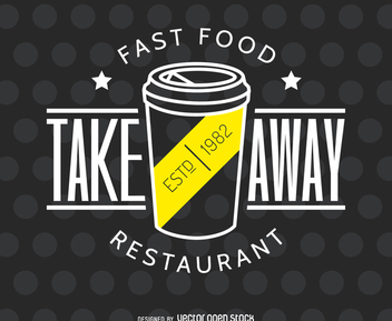 Take away restaurant logo - vector gratuit #372521