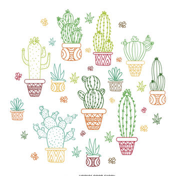 Cactus outline illustration - Free vector #372531