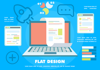 Free Flat Digital Marketing Vector Background with Touch Screen Notebook - vector #372691 gratis