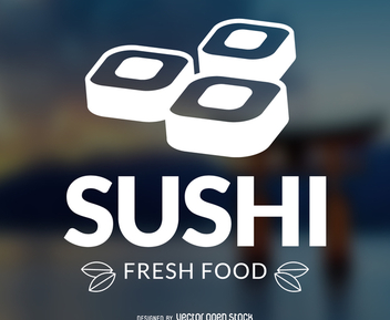 Sushi logo with background - vector gratuit #372741