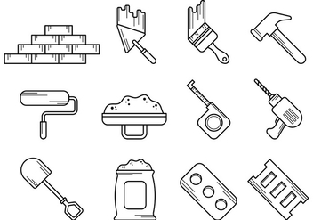 Set Of Bricklayer Tool Vector - Free vector #372841