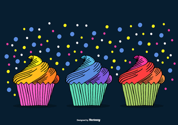 Hand Drawn Cupcake Vectors - бесплатный vector #372951