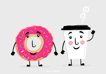 Donut Coffee Friend Vectors - vector gratuit #372981