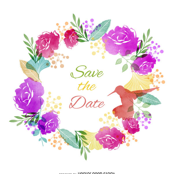 Save the date watercolor label - vector gratuit #373171