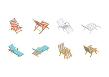Free Isometric Deck Chair Vector - Free vector #373221