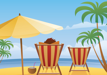 Summer Beach Landscape Vector - бесплатный vector #373231