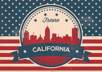 Retro Fresno California Skyline Illustration - vector gratuit #373301